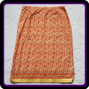 Faded Glory Orange & Yellow Flower Pattern Skirt